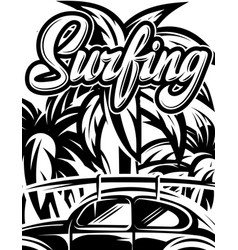 With palm trees and calligraphic vector