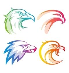 Colorful eagle head logos with rainbow gradients vector