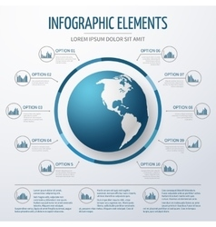 Earth globe 3D infographic template vector image