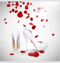 High Heeled Shoes and Rose Petals vector image