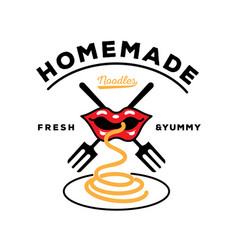 homemade noodle logo with mouth eat noodle with vector image vector image