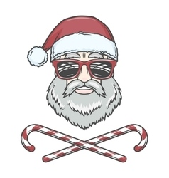 Santa claus biker with candy cones and hipster vector