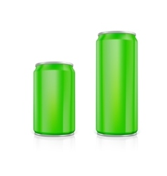 Set of green blank aluminium cans vector image vector image