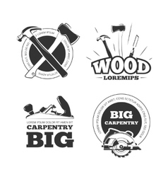 Vintage carpentry labels emblems badges vector image