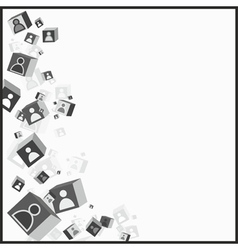 Abstract cubes with human icons on them vector image vector image