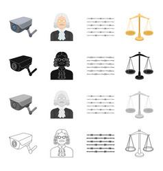 Barbed wire in prison video surveillance judge s vector