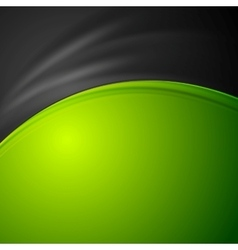 Contrast green and black abstract wavy background vector image vector image