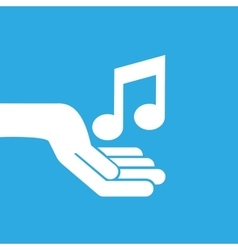 hand hold icon smartphone and music note design vector image