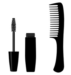 Mascara and comb vector image