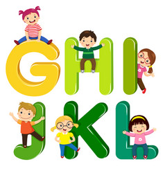 cartoon kids with ghijkl letters vector image vector image