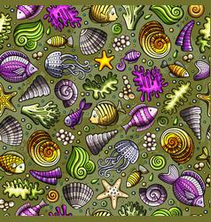 Cartoon under water life seamless pattern vector