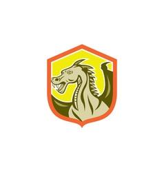 Green Dragon Head Shield Cartoon vector image vector image