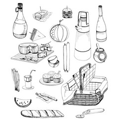 hand drawn picnic items set collection with vector image