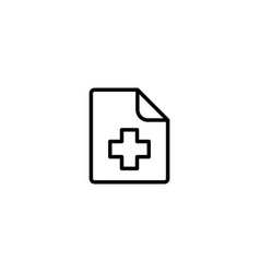 Medical patient history record file icon on white vector