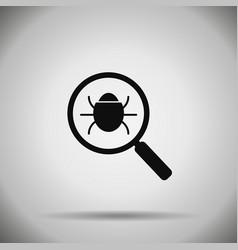 search bug icon virus vector image vector image