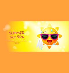 summer sale cartoon sun face layout design vector image