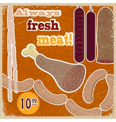 Vintage card with a picture of meat products vector image