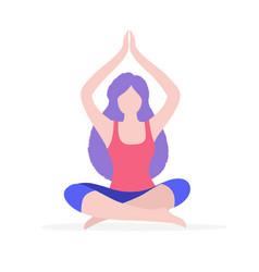 woman doing yoga flat isolated vector image vector image