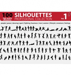 100 silhouettes professional collection vector image vector image
