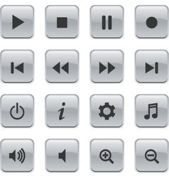 glossy media buttons vector image vector image