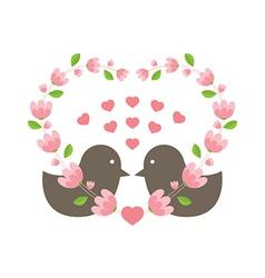 Love Birds Wearing A Heart Wreath vector image