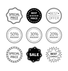 Set of nine black and white retro badges vector image vector image