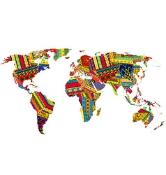 World map with ethnic motifs vector image