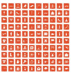 100 flowers icons set grunge orange vector image