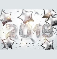 2018 happy new year silver numbers design with vector