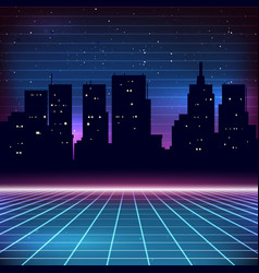 80s Retro Sci-Fi Background with city silhouette vector image
