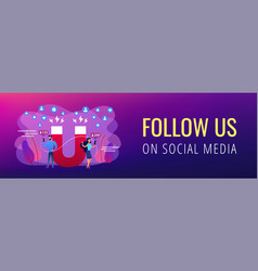Attracting followers concept banner header vector