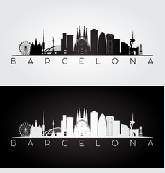 Barcelona skyline and landmarks silhouette vector