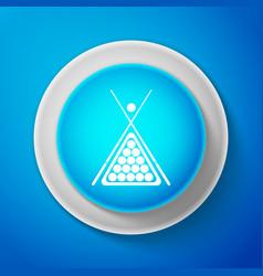 billiard cue and balls in a rack triangle icon vector image