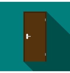 Brown steel door icon flat style vector image