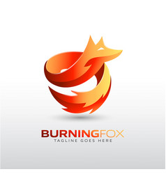 burning fox logo template for your company brand vector image