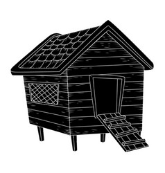 cartoon chicken coop silhouiette isolated on vector image