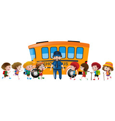 Children and bus driver standing by the schoolbus vector