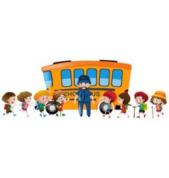 Children and bus driver standing schoolbus vector