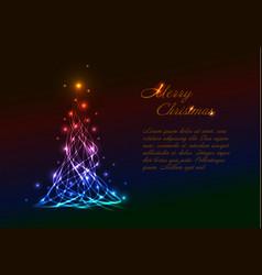 Christmas card template with light christmas tree vector