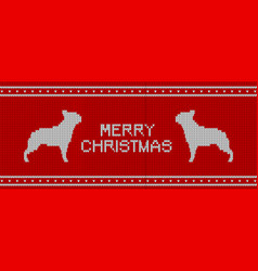 christmas knitted pattern with french bulldogs vector image