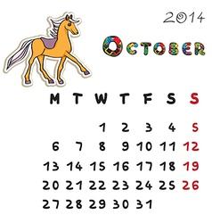 color horse calendar 2014 october vector image
