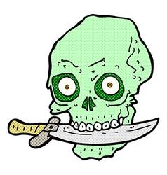 Comic cartoon pirate skull with knife in teeth vector