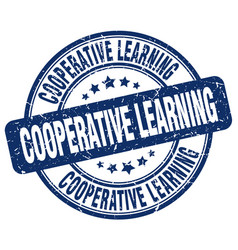 cooperative learning blue grunge stamp vector image