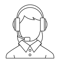 Customer support operator icon outline style vector image