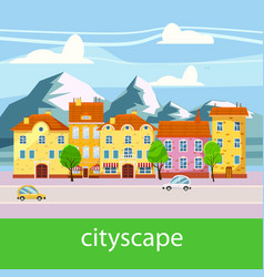 cute cityscape beautiful houses mountains vector image