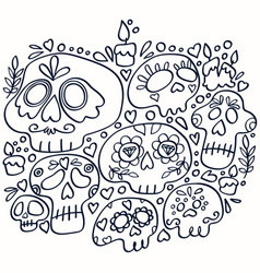 day dead line art print holy death vector image
