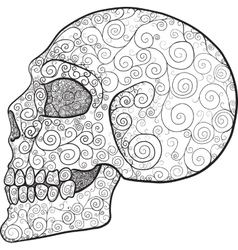 Decorated skull profile vector