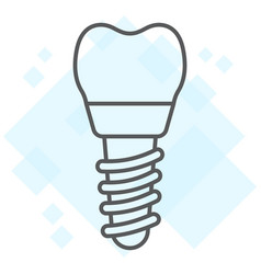 dental implant thin line icon stomatology vector image