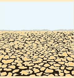 Dry cracked soil desert landscape vector