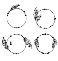 feathers boho style circle frames vector image